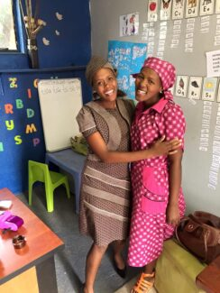 BDS teachers in traditional Lesotho Seshoeshoe fabric outfits.